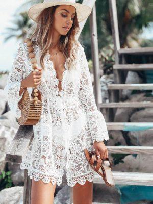 haljina za plažu bela